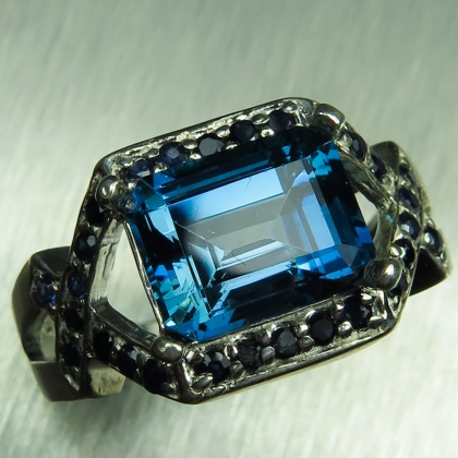 4ct Natural London Blue Topaz Silver/ Gold/ Platinum art deco ring