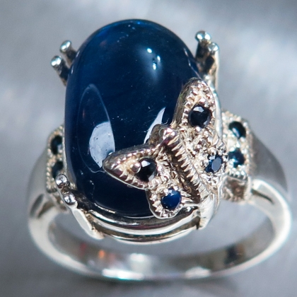 13.10cts Natural Royal blue sapphire Sterling .925 Silver ring