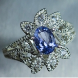 0.65ct Natural tanzanite & topaz Silve..