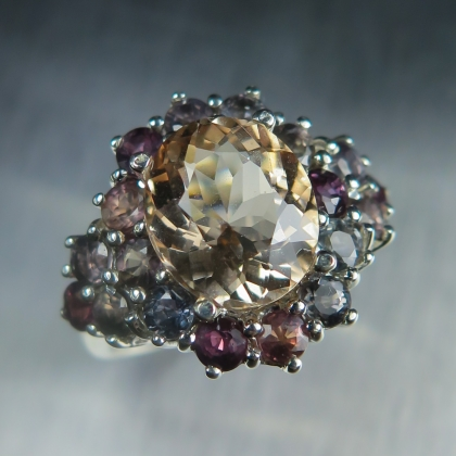 2.85ct Natural peach Pink Morganite Beryl Silver/ Platinum/ Gold ring