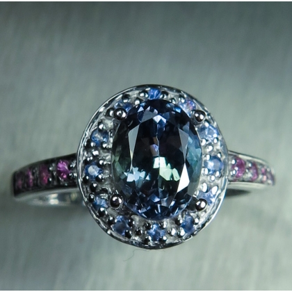 1.6ct Natural tanzanite & sapphires Silver/ Gold /Platinum ring