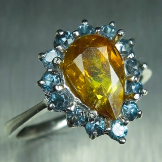 1.6ct Natural Sphalerite & zircon Silv..