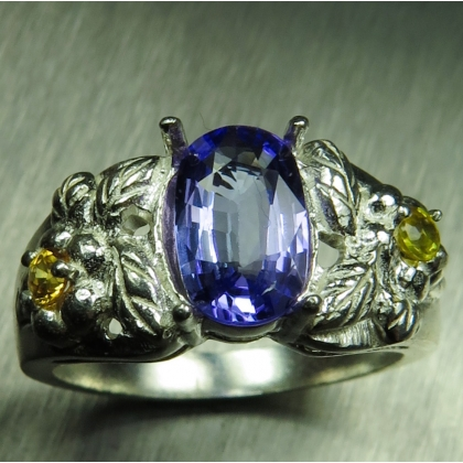 1.4ct Natural tanzanite & sapphires Silver/ Gold /Platinum ring