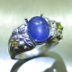 3.6ct Natural cornflower blue star sapphire Silver/ Gold ring