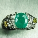 1.2ct Natural Zambian Emerald &sapphires Silver / Gold ring