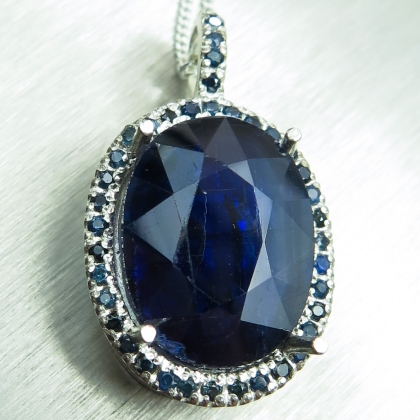 8.55ct Natural blue kyanite & sapphire Silver / Gold pendant necklace
