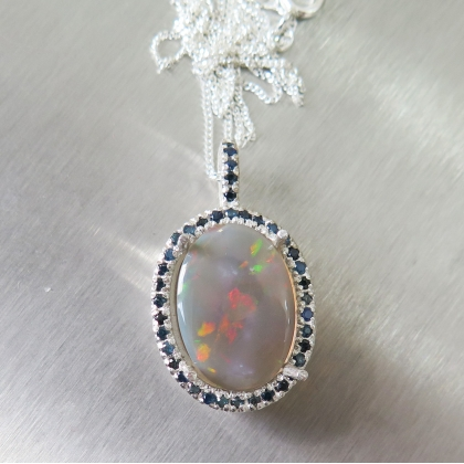 2.25ct Natural Australian Jelly Opal Silver / Gold pendant necklace