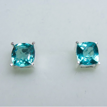 Natural paraiba blue Zircon Silver / gold / Platinum stud earrings