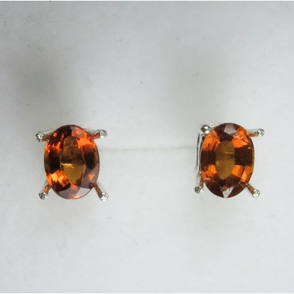 Natural Hessonite Garnet Cinnamon orange Silver /Gold stud earrings
