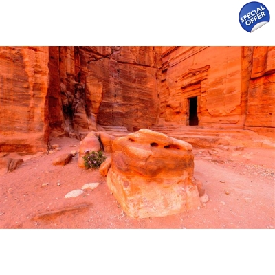 Petra from the Dead Sea title=