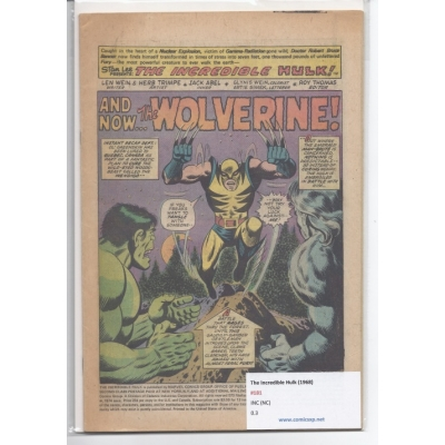 The Incredible Hulk [1968] 181 [Coverless] [Marvel Value Stamp Intact] [First Wolverine]