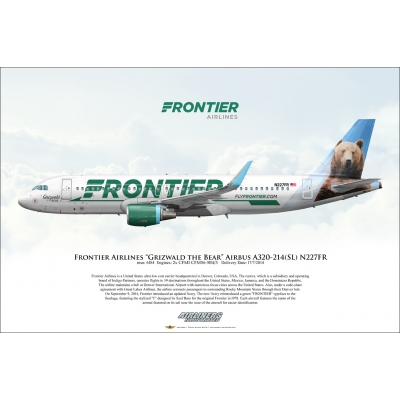 "Frontier Airlines ""Grizwald the Bear"" Airbus A320-214SL N227FR"