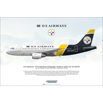 "US Airways ""Pittsburgh Steelers"" Airbus A319-112 N733UW"