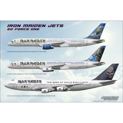 Iron Maiden Jets Ed Force One Boeing 757 747 G-OJIB G-STRX TF-AAK