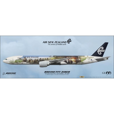 "Air New Zealand ""The Hobbit"" Boeing 777-319ER ZK-OKP Panoramic Art 81x30cm"