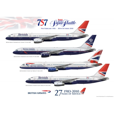 British Airways Boeing 757-236 Negus, Landor, Union Flag Commemorative Art