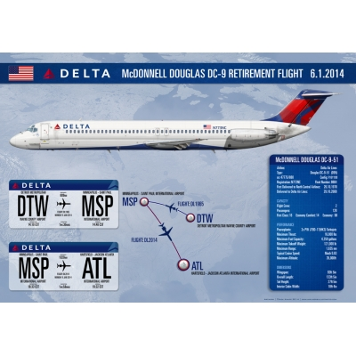 Delta Air Lines McDonnell Douglas DC-9-51 N773NC Retirement Flight