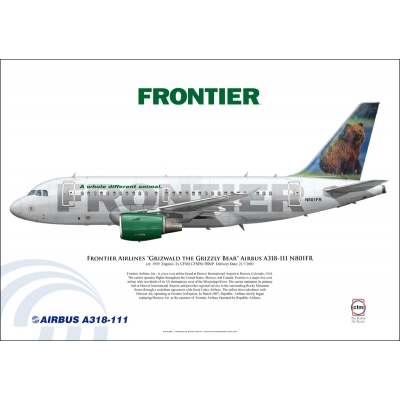 "Frontier Airlines ""Grizwald the Grizzly Bear"" Airbus A318-111 N801FR"