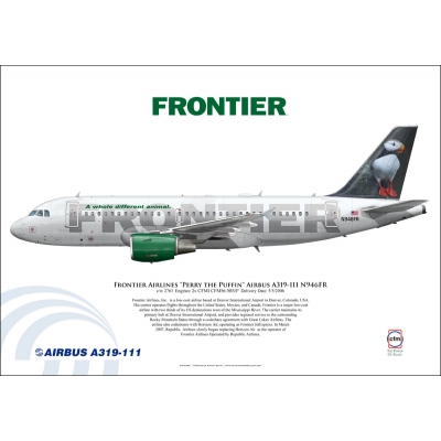 "Frontier Airlines ""Perry the Puffin"" Airbus A319-111 N946FR"
