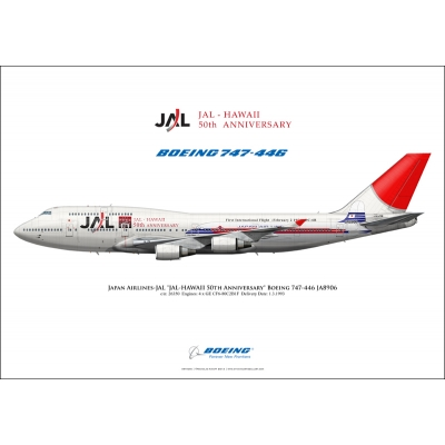 "Japan Airlines ""JAL-HAWAII 50th Anniversary"" Boeing 747-446 JA8906"
