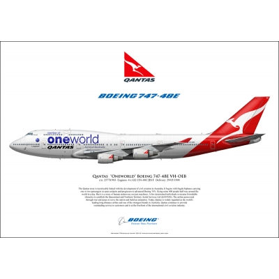 "Qantas Airways ""Oneworld"" Boeing 747-48E VH-OEB"