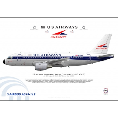 "US Airways ""Allegheny Vistajet"" Airbus A319-112 N745VJ"