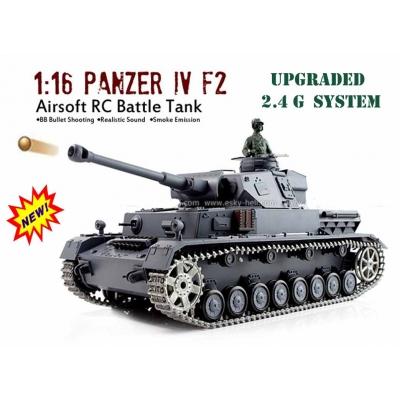 2 4G HENG LONG Panzer iv F2 Radio Remote Control BB Shoot Tank Pro Metal  Tracks