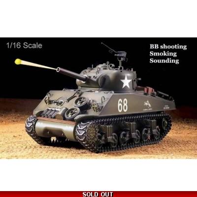 Heng Long M4A3 Sherman Radio Control RC Military TANK M4A3 2 4G BB Shooting  Smoking Engine Sounding