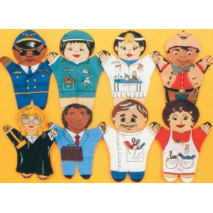 8 pc puppet set: Occupations