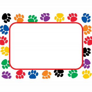 Colorful Paw Prints Name Tag..
