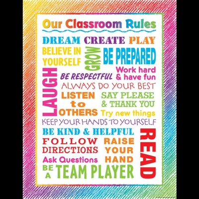 [TCR chart] Colorful Scribble Our Classroom Rules Chart