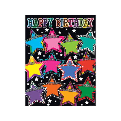 [TCR chart] Fancy Stars Happy Birthday Chart