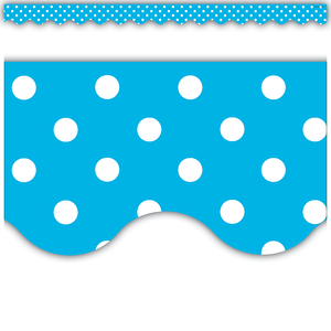 Aqua Polka Dots Scalloped Bo..