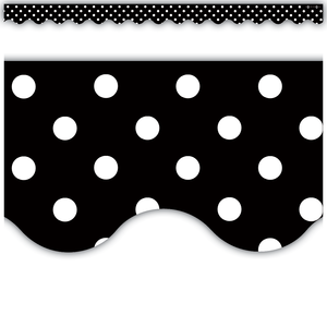Black Polka Dots Scalloped B..
