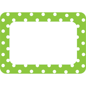 Lime Polka Dots 2 Name Tags/..