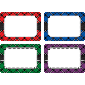 Plaid Name Tags/Labels - Mul..