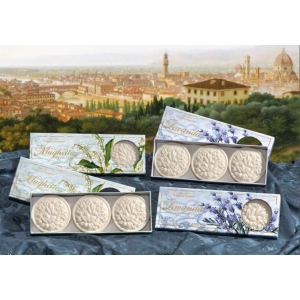 FLORENTINE ROUND SOAPS LAVENDER & LILY OF THE VALLEY 3X125G
