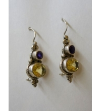 Sterling 925 Blue  Sapphire & Yellow Topaz European Hook Earrings