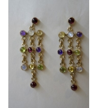 Sterling Chain 11 Mixed Gem Stone Stud Earrings Garnet Citrine Moonstone Iolite Amethyst Peridot Yellow & Blue Topaz