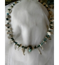 Raw Cut Deer Antler & Turquoise Chip Necklace