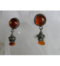 Sterling & India Amber Cabochon Post Earrings