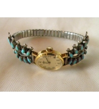 Old Pawn Sterling & Turquoise Petit Point Watch Cuff