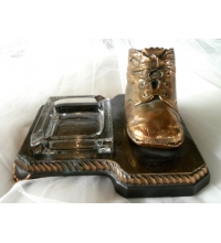 ANTIQUE - PLATED BRONZE BRASS COPPER - BABY SHOE & ASH TRAY - L E MASON CO. BOSTON MASS. - CIRCA 1920's