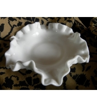 Fenton White Milk Glass Hobnail Ruffled Edge Nut Candy Dish