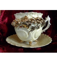 Very Unusual Footed Victorian Tea Cup & Saucer