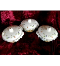 Golden Harvest Pot Pie Dish Set of 3 22K Trim