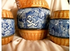 Vintage Blue & Brown Relief Majolica P..