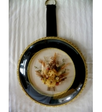 "Art Deco Hand Placed Dried Floral's Pair in Convex Glass ""Made in Belgium"""