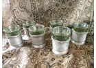 Antique Pewter Tea Sleeves  w/ Green G..