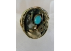 Old Pawn Turquoise, Bear Claw - Sterli..